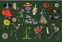 死んだ背景の新しいメキシコの日7x5ftメキシコのディアデムエルトス写真背景花祭お祝い伝統文化カルチャーメキシコ民俗党装飾スカル死スケアリー写真
