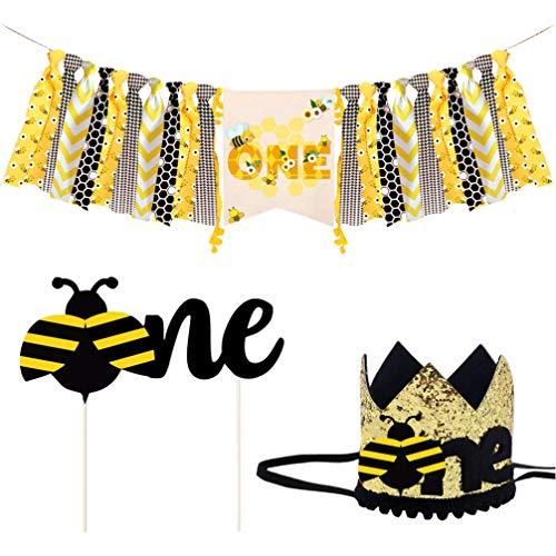 Amosfun 3 Stks Bee Honing Hangende Swirl Decoraties Honing Bee Hoofdband Verjaardag Cake Topper Kinderen Verjaardag Hoed Honing Bee Verjaardag Party Supplies