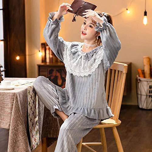 Empty Warm Winter Pyjama für Frauen Flanell Pyjamas Set Bequeme Pyjamas Spitze Rundhalsausschnitt Lose Kann draußen getragen Werden -M_40-50KG