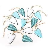 12 kleine türkis weiß blau gepunktete gestreifte Metall Blech Herzen