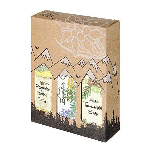 Allgäuer Genuss-Box - Feinkost Geschenk-Set - 2 x 100ml Essig und 1 x 100ml Öl - Allgäuer Delikatessen mit Geschenkverpackung als Geschenk-Set