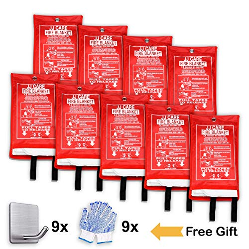 JJ CARE [Pack of 9 Fire Blanket Fire Suppression Blanket + Fire Protective Gloves + Hooks -Suitable for Camping, Grilling, Kitchen Safety, Car and Fireplace Retardant Blanket for Emergency