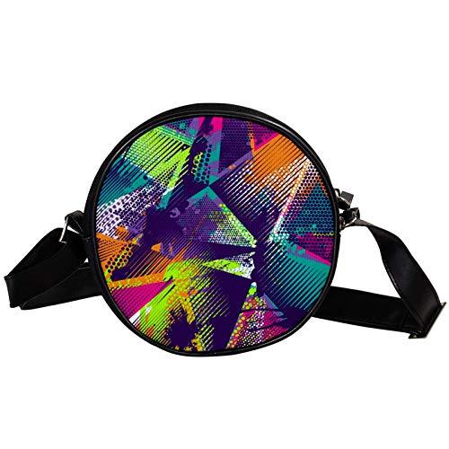 Borsa a tracolla rotonda piccola da donna, alla moda, borsa a tracolla in tela, accessorio per donna, motivo astratto geometrico a triangoli spray al neon