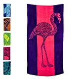 """Nova Blue Flamingo Beach Towel – Pink and Purple with A Cute Design, Extra Large, XL (34""""x 63"""") Absorbent & Portable, Lightweight, Pink Beach Towel, Made from 100% Cotton for Kids & Adults"""
