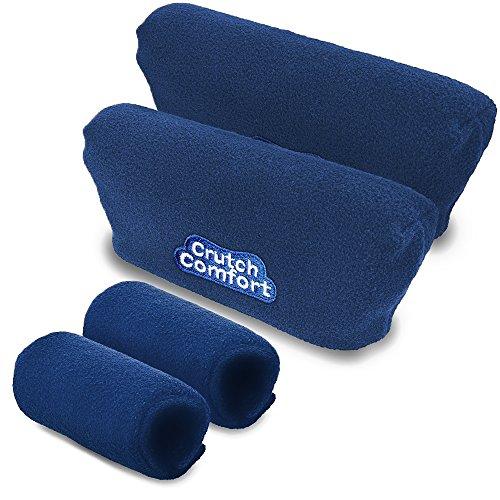 Crutch Comfort Deluxe Soft Fleece & Foam Crutch Accessory Set (Blue)