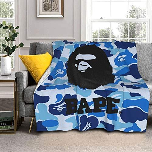 YUYUY Ba-pe Blue Camo Logo PosterUltra Soft Micro Fleece Blanket Light Weight Warm Fluffy Plush Four Premium Airplane Blanket