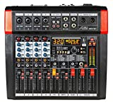 Audio2000'S AMX7381 Four-Channel Powered Audio Mixer with 320 DSP Sound Effects, Stereo Sub Out with Sub-Out Level-Control Fader, Level-Control Faders on All Channels, and USB/Computer Interface