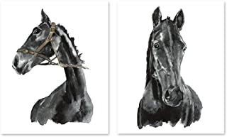 Horse art #A003 - Set of 2 art prints(8x10).Black and white Horse art.Black horse wall art. Horse art print.Horse wall art.Horse pictures.Pictures of horses.horse watercolor.horse painting.