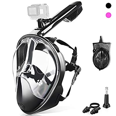 ZIPOUTE Snorkel Mask Full Face, Full Face Snorkel Mask Adult and Kids with Detachable Camera Mount, Snorkeling Mask 180 Panoramic View Anti-Fog Anti-Leak Dry Top Set