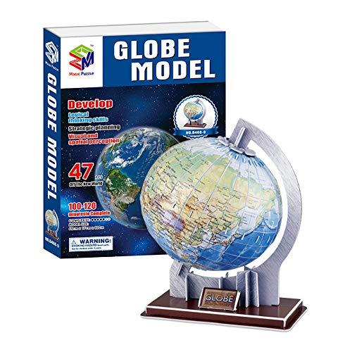 Szeao Rotación del Globo Terráqueo 3D Modelo De Rompecabezas Tridimensional Manual Color De Bricolaje Ensamblado De Juguetes Educativos Juego De Regalo Conjunto De Ensamble De Globo Montado
