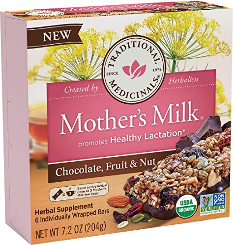 Traditional Medicinals Mother's Milk Chocolate, Fruit & Nut Lactation Bars, 6 Count (Pack of 1)