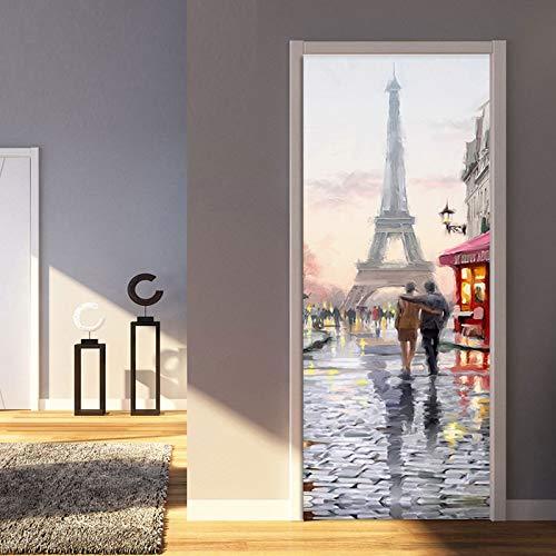 Mural Para Puerta Torre De Hierro Pintura 3D Sala De Estar Dormitorio Desmontable Autoadhesivo Papel Pintado Puertas 90 X 200 cm