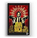 Keanu Reeves de la pelicula John Wick - Pintura Enmarcado Original, Imagen Pop-Art, Impresión Póster, Impresion en Lienzo, Cuadro, Cómics, Cartel de la Película