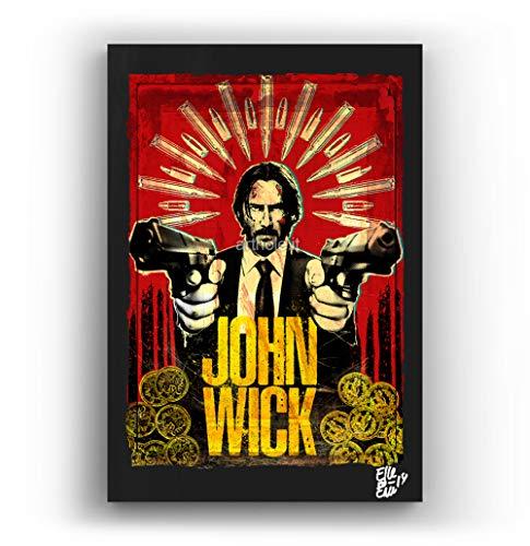 Keanu Reeves de la pelicula John Wick - Pintura Enmarcado Original, Imagen Pop-Art, Impresion Poster, Impresion en Lienzo, Cuadro, Comics, Cartel de la Pelicula