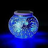 Solar Mosaik Tischlampen Farbwechsel Solarbetriebene Tischleuchte Kristallglas Ball Licht Indoor / Outdoor Dekorationen für Weihnachtsfeier Urlaub Terrasse Hof (Feuerwerk)