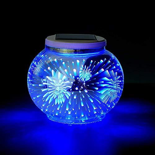 Solar Mosaik Tischlampen Farbwechsel Solarbetriebene Tischleuchte Kristallglas Ball Licht Indoor/Outdoor Dekorationen für Weihnachtsfeier Urlaub Terrasse Hof (Feuerwerk)