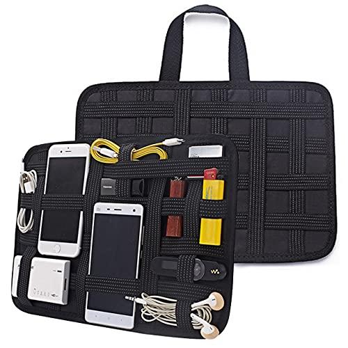 [ラッジョ]カバン 整理 バッグインバッグ デジモノ アクセサリー 固定ツール PC周辺 スマホ ケーブル整理 小物 簡単整理 ゴムバンド 薄型 インナーケース (ブラック大(31×21cm))