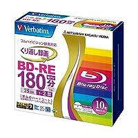 (まとめ) バーベイタム 録画用BD-RE 25GB 2倍速 ワイドプリンターブル 5mmスリムケース VBE130NP10V1 1パック(10枚) 〔×3セット〕