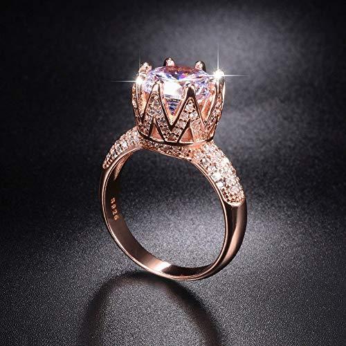 MYLDML Anillo Sólido 100% Plata de Ley 925 & amp;Anillos de Boda de Oro Rosa Corona de Joyas para Mujer 8ct Anillo de Compromiso de Diamantes simulados tamaño 5-10, Oro Rosa, 10