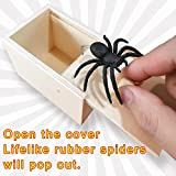 Fun Surprise Joke Boxes,Rubber Spider Prank Surprise Box,Handcrafted Wood Box,JNDB08-single