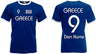 Fruit of the Loom Griechenland Herren Retro T-Shirt Wunschname & Nummer