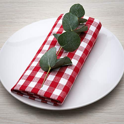 FILU Servietten 8er Pack Rot/Weiß kariert (Farbe und Design wählbar) 45 x 45 cm - Stoffserviette aus 100% Baumwolle im skandinavischen Landhausstil