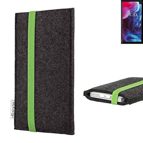 flat.design vegane Handy Tasche Coimbra kompatibel mit Archos Oxygen 63XL - Schutz Hülle Tasche Filz vegan fair grün