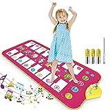 RenFox Tappetino per Pianoforte, Tappeto Musicale per Bambini bilaterale Tastiera Entrambi Lati con 16 Tasti e 7 Versi Animali, Giocattoli Educativi Regali, 110 x 50cm, Rosa Rossa