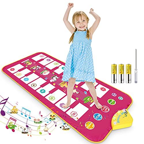 RenFox Piano Matte, Klaviermatte für Kinder , Tanzmatte Musikmatte Bilateral Tastatur mit 16 Tasten & 7 Tiergeräuschen, Lernspielzeug Geschenke für Jungen Mädchen, Roses(110 x 50cm)