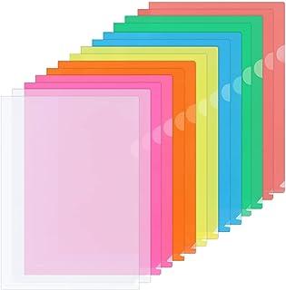 ZCZN 14 Pcs Chemises Plastique, Dossier Pochette A4 Pochette Document Personnalisable de 7 Couleurs Vives Transparent Plas...