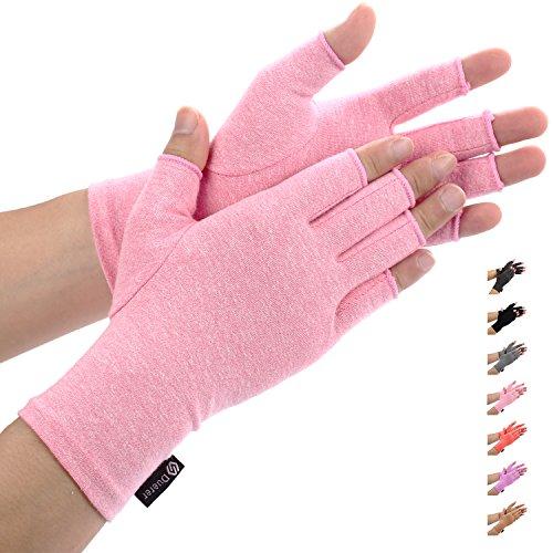 Duerer Arthritis Gloves, guantes de compresión mujeres y hombres alivian el dolor de reumatoide, RSI, túnel carpiano, guantes de mano para el trabajo diario (Small, Rosado)