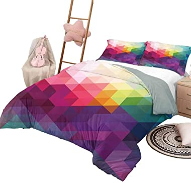 DayDayFun Duvet Cover Rainbow Pattern Bed Cover Colorful Abstract Geometric Pattern with Triangles Polygon and Ohter Shapes R
