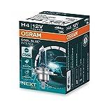 OSRAM COOL BLUE INTENSE H4, +100% más de brillo, hasta 5000 K, lámpara de faro halógena, aspecto LED, caja plegable (1 lámpara)