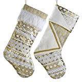 Valery Madelyn 21 inch 2 Pack Luxury White Gold Christmas Stockings Decorations with Embroidery Sequins and Cuff, Themed with Tree Skirt (Not Included)