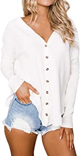 Shirts For Women New Fashion Womens Loose Tunic Blouse Button Henley Tops Bat Wing Plain Shirts Womens Tops Clearance