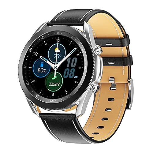 Smart Watch Bluetooth5.0 Inteligente Pantalla Completa Medición de Llamadas Larga Batería Life Relojes Inteligentes (Color : Silver Leather Strap)