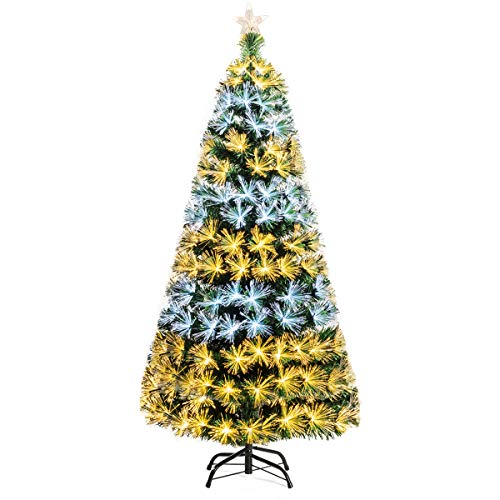Goplus 6ft Pre-lit Artificial Christmas Tree, Premium Optical Fiber Tree, 8 Lighting Modes with 2 Colors, Ideal for Xmas Indoor Decor