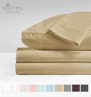 Soft 600 Thread Count Cotton Sand Full Bed Sheet Set, 100% Long Staple Cotton Soft & Comfortable Satin Sheet, Deep Pocket Full Size Sheet fit Upto 15 inch (Light Beige Full Size Sheet)