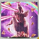 Presock Duschvorhänge, Sloth Ride A Llama In Pizza Shower Curtain, Custom Waterproof Fabric Shower Curtain Sets Decoration - 60x72inch for Women and Men, Bathroom Sets