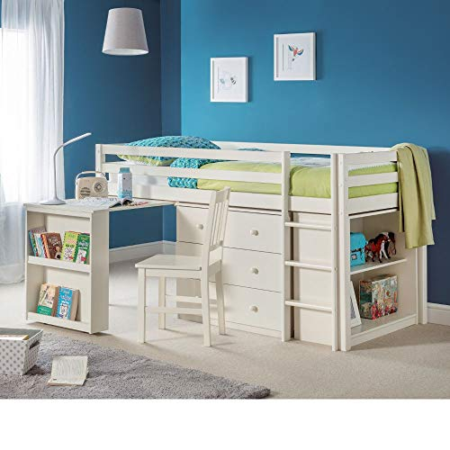 Kids Mid Sleeper Storage Bed, Happy Beds Roxy Stone White Contemporary Desk Drawers Shelf Storage Cabin Bed