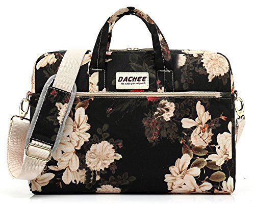 DACHEE Black Peony Pattern 15 inch Waterproof Laptop Shoulder Messenger Bag for 14 Inch to15.6 inch Laptop and Macbook Pro 15 laptop Case