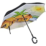 Parapluie inversé San Pedro Cactus Parapluie inversé réversible pour Voiture de Golf Voyage Pluie extérieur Noir