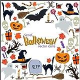Kesote 8 Feuilles d'Autocollants d'halloween pour Fenêtre et Vitrine Autocollants de Happy Halloween, Citrouille, Chat, Chauve-Souris et Fantôme Stickers de Décoration pour Halloween