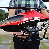 Kikioo Avión RC Rojo 85cm al aire libre con giroscopio de luz LED grande teledirigido de radio de 3.5 canales helicóptero resistencia a la caída de Boy Toy Aviones niños Drone Principiante fácil de op