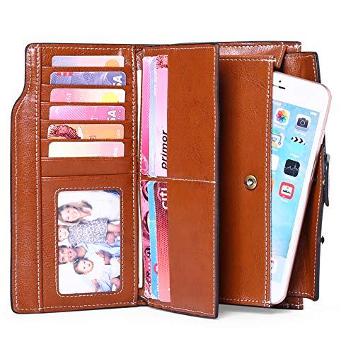 SENDEFN Women Leather Wallets RFID Blocking Clutch Card Holder Ladies Purse with Zipper Pocket 2