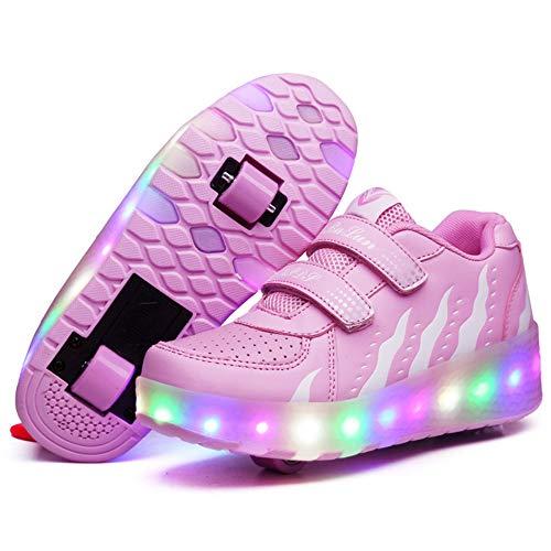 PLMOKN Kinder Rollschuhe Mädchen Jungen Mode Led Rollenschuhe Led Lichter Blinken Rollschuh Kinder Skates Schuhe Atmungsaktiv Mesh Sneaker Outdoor-Sportarten Skateboardschuhe Mit Rollen,H-37