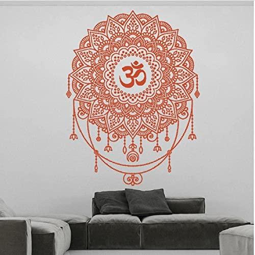 Murales de pared Ohm Mandala Patrón Pegatinas Decoración Yoga Mandala Papel Tapiz Geométrico Inicio Yoga Studio Mandala Decoración Calcomanías 42X55Cm