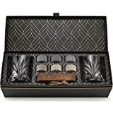 Set Whisky con Pietre Whisky Refrigeranti - 6 Cubetti per Whisky in Granito Artigianali - 2 Bicchieri Whisky Superior - Vassoio in Legno Duro - Elegante Confezione Regalo Laminata d'Oro R.O.C.K.S