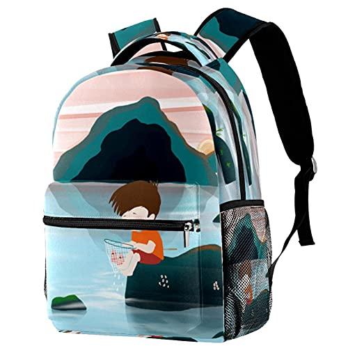 XiangHeFu Mochila ligera para mochila de viaje escolar para niñas y niños Vida en aldea Mochila estampada