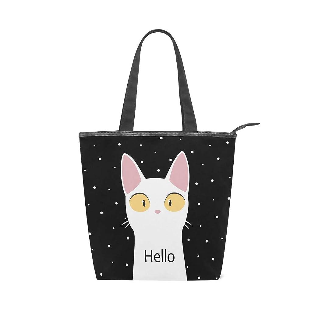 慈悲目に見える体系的にキャンバスバッグ トートバッグ ハンドバッグ 手提げ Hello 白猫柄 可愛い 大容量 通勤通学 メンズ レディース